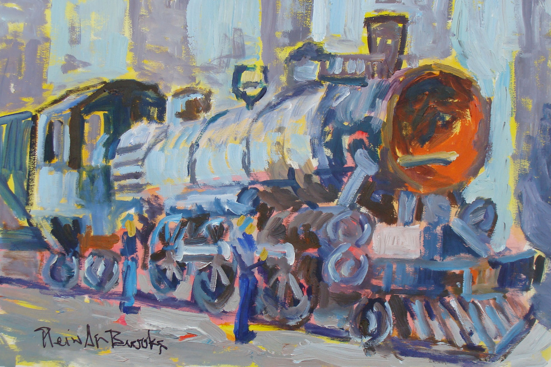 Painting of Oregon Railroad and Navigation Engine 197