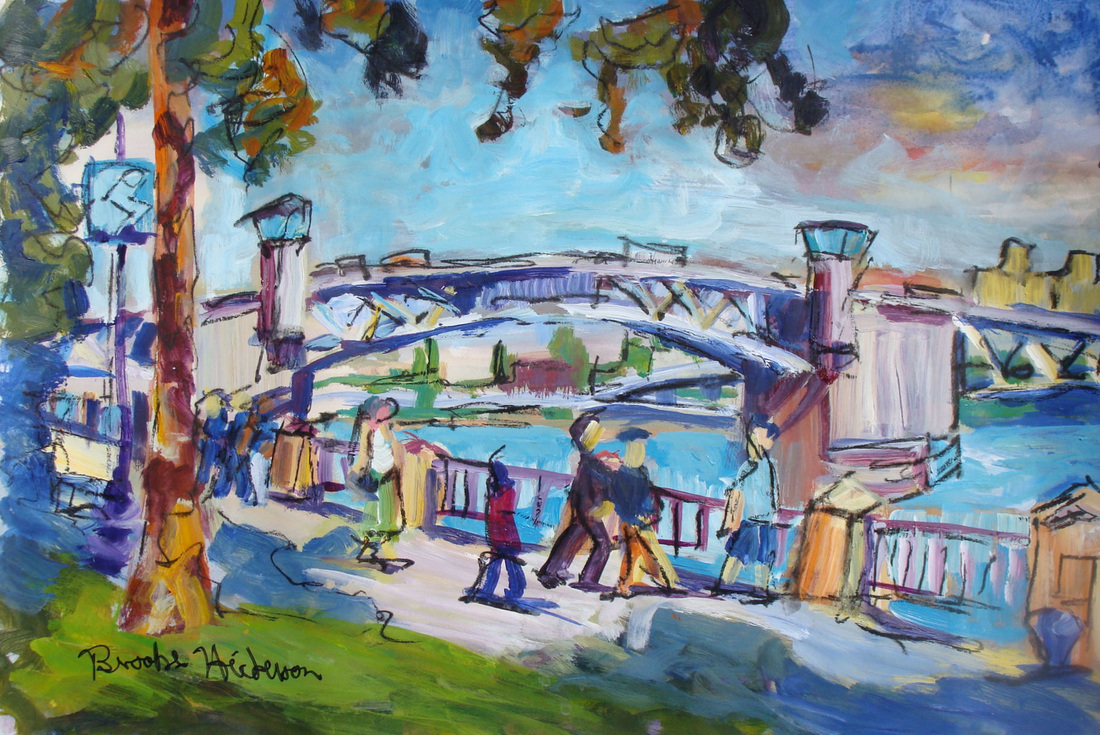 painting of Morrison Bridge in Portland Oregon